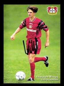 Thorsten-Wittek-Autogrammkarte-Bayer-Leverkusen-1996-97-Original-Sign-A-67877