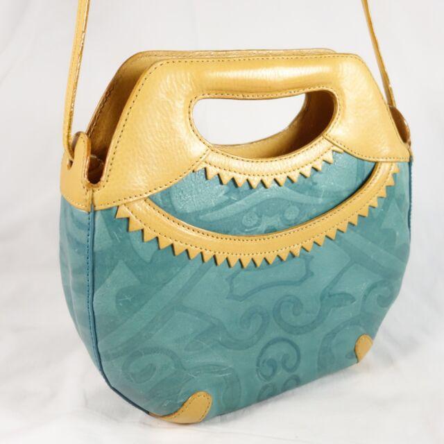 Tusk Ltd Turquoise Tan Satchel Handbag W Shoulder Strap