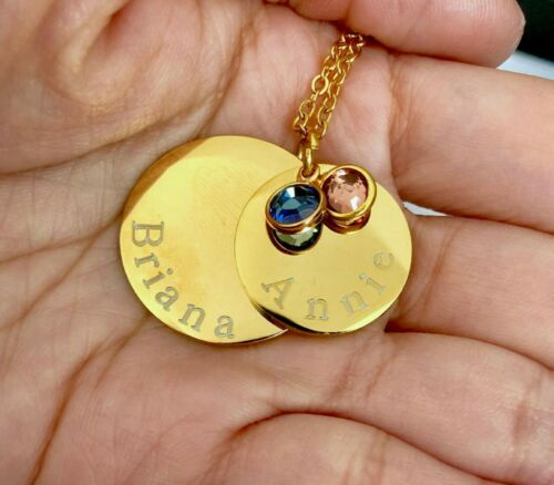 Personalized two layers names mom Gold stainless steel Necklace w//crystal Gift