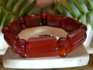 antique-style-25MM-Natural-Gemstone-Oblong-Orange-Carnelian-Bracelet