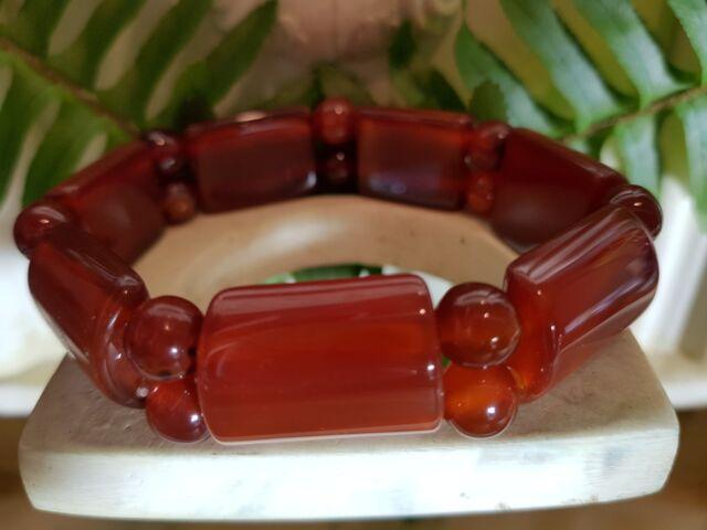 antique style 25MM Natural Gemstone Oblong Orange Carnelian Bracelet