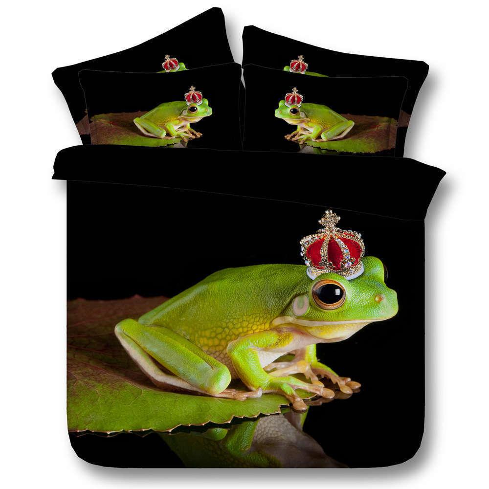 Frog Crown Lotus 3D Printing Duvet Quilt Doona Covers Pillow Case Bedding Sets