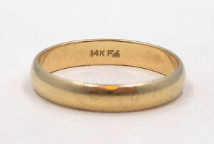 14k Solid Yellow Gold Wedding Band Ring ~ Size 10 3/4 ~ 3.5 Grams