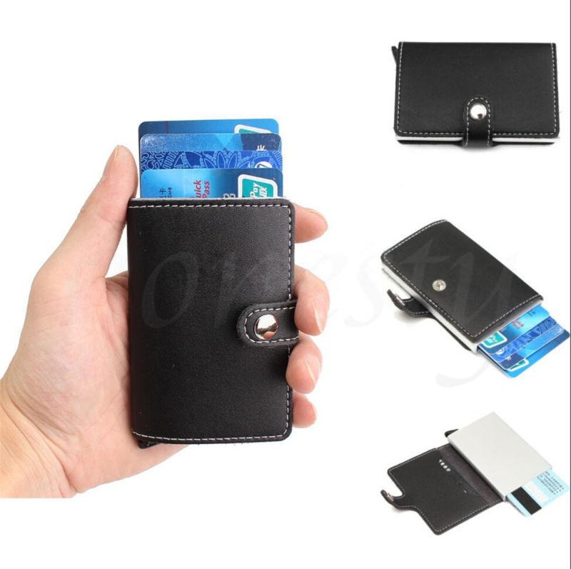 Aluminium Leder ID Kreditkarte RFID Protector Halter Fall Geldbörse Brieftasche