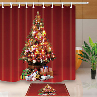 Christmas Gifts And Xmas Tree Shower Curtain Bathroom Fabric 12hooks 7171inch Ebay