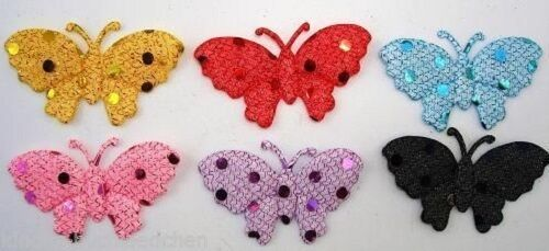 6 Schmetterlinge Stoff  5 cm Applikationen  Basteln 6 Farben Scrapbooking