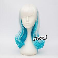 55CM Party Lolita Long Wavy Women White Mixed Sky Blue Hair Cosplay Wig+Wig Cap