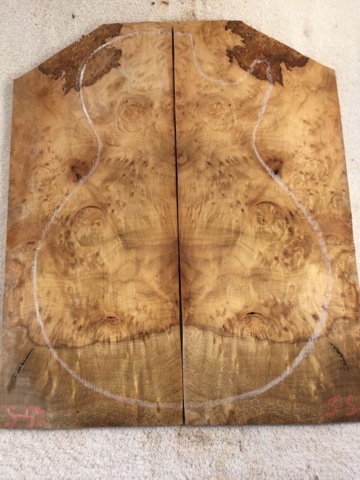Myrtle Burl book match set luthier guitar tone wood .33 x 15.5 x 18.75    S-55