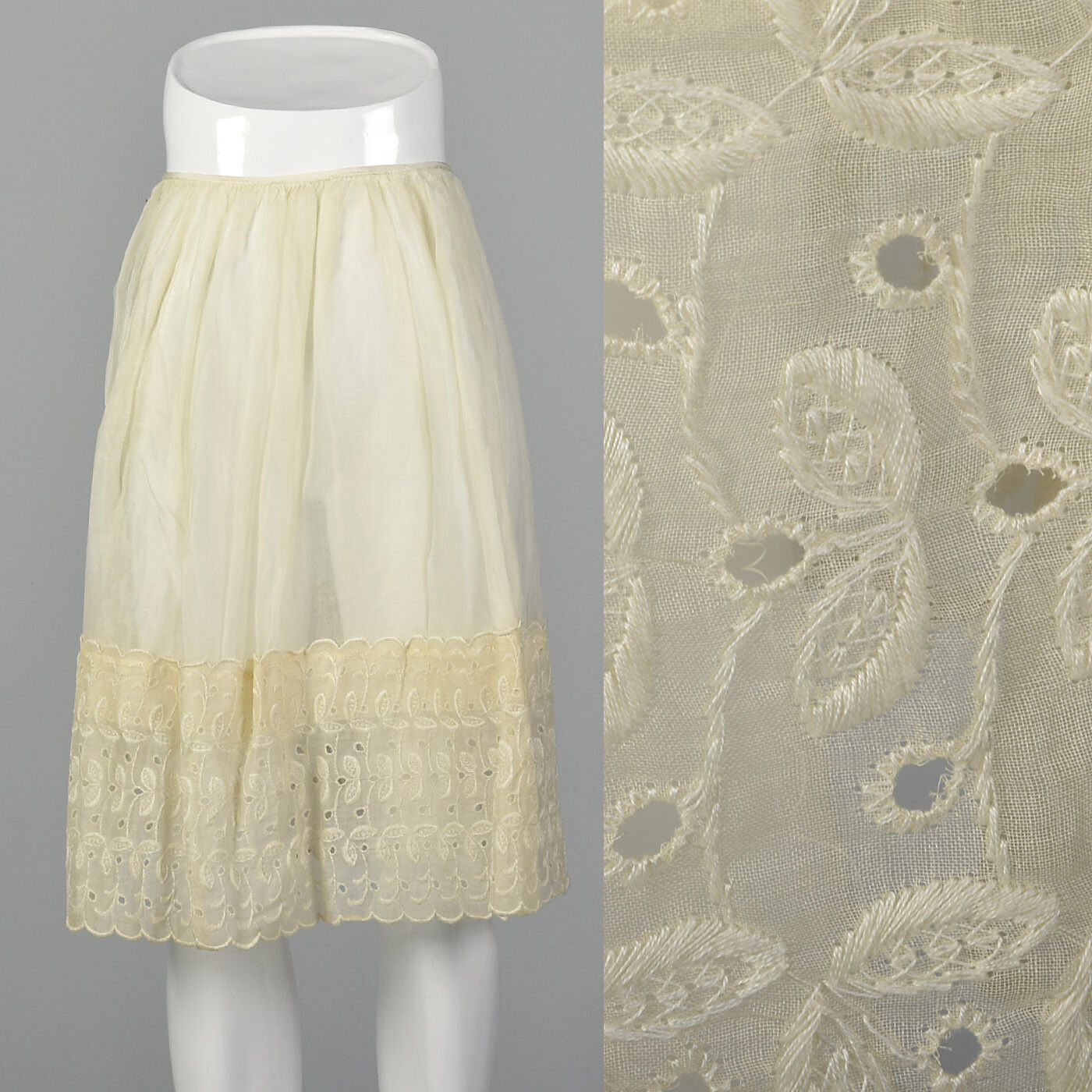 XXS 1950s Cotton Eyelet Slip Off White VTG Gathered Skirt Lingerie Petticoat