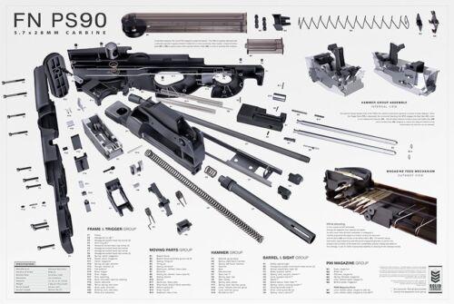 "2017 Edition 36/""x24/"" FN P90 PS90 Exploded Parts Diagram Gun Poster"