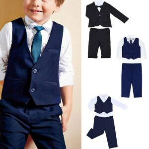 145dfe45e Baby Boys Kids Gentleman Outfits Suit Coat Tie Shirt Pants 3 4pcs ...