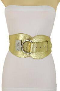 Women Silver Metal Hook Buckle Gold High Waist Hip Elastic Fashion Belt Size S M