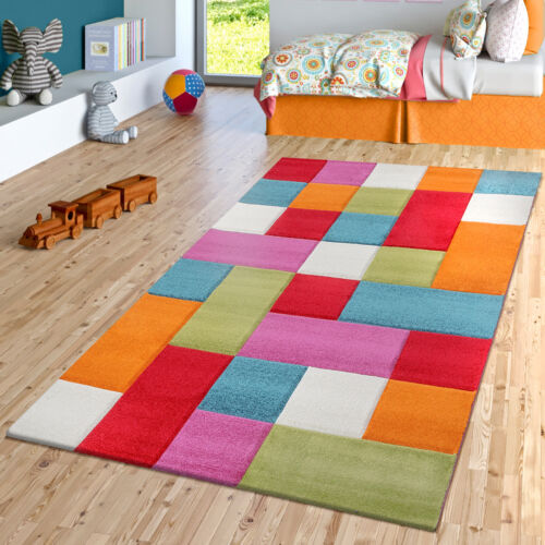 Kinderzimmer Teppich Bunt Creme Grün Pink Türkis Multicolour Kariert Spielzimmer