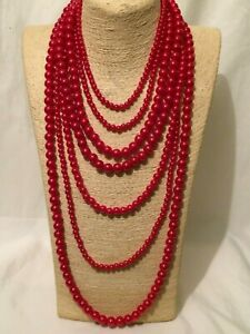 Womens Statement Chunky Long Big Large Huge Red Bead Beaded Faux Pearl Necklace