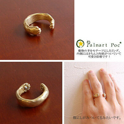 Women New Cat Paw Fashion Alloy Lovely Jewelry Plated Gold Silver Opening Ring C