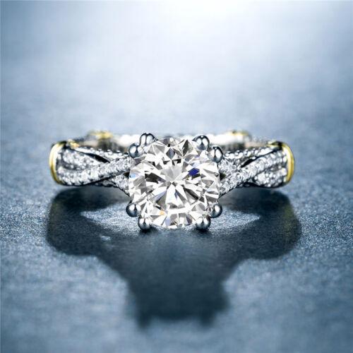 Gorgeous Women White Sapphire 925 Silver Jewelry Two Tone Wedding Ring Size 6-10