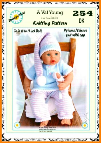 """DOLLS KNITTING PATTERN no 254 for  Anabell  17/""""-19/"""" doll Daisy May"""