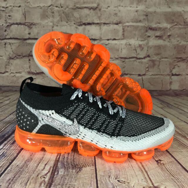 Nike 942842106 Air Vapormax Flyknit 2 Size 10 Safari Shoes - White/Black/Total Orange/White Colourway