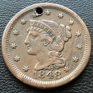 1848 Large Cent Braided Hair 1c High Grade XF Details #28499