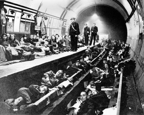 London Underground Scene During WWll BW 10x8 Photo