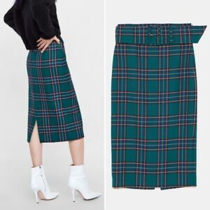 Zara Blue Checked Skirt With Belt Size SMALL BNWT