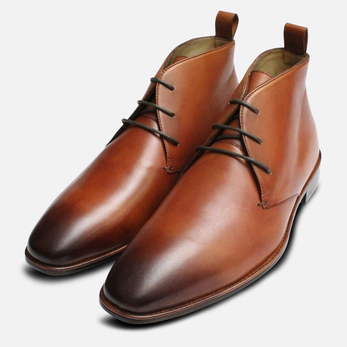 Tan Leather Chukka Boots for Men