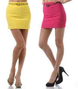 New-Women-039-s-Juniors-Casual-Fitted-Belted-Mini-Pencil-Skirt