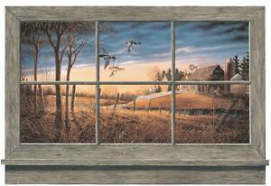 Wallpaper-Mural-Rustic-Window-Lodge-Look-Ducks-Barn-Farm-House-on-River