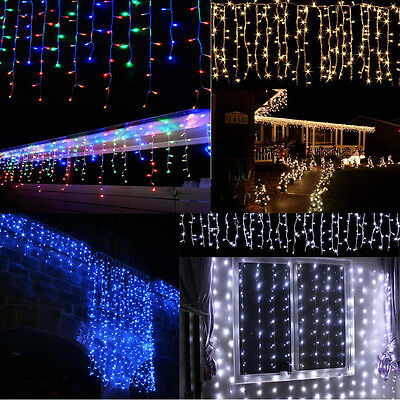 Outdoor Xmas Christmas LED Curtain Icicle Fairy String Lights Lamps Wedding UK