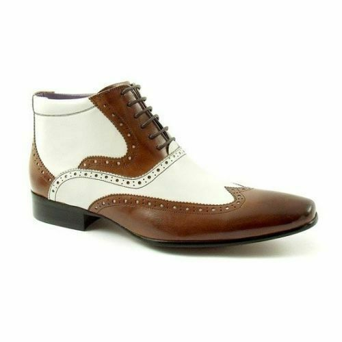 Mens Handmade Boots Brown & White Wingtip Ankle Real Leather Formal Wear shoes