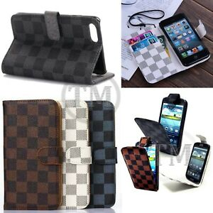 Designer-Checkered-Monogram-Luxury-Leather-Flip-Wallet-book-case-covers
