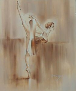Ballerina-Dancer-Tutu-Toe-Shoes-At-Barre-Stretched-20X24-Oil-On-Canvas-Painting