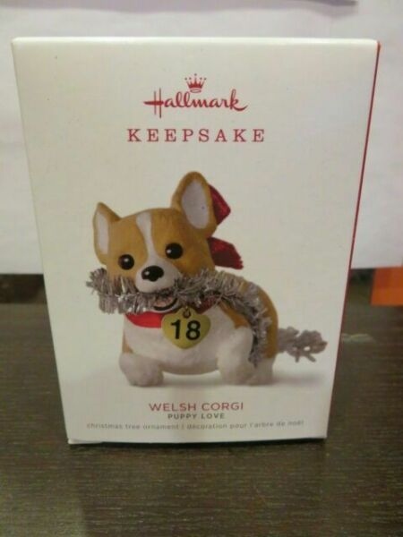 Puppy Love Welsh Corgi 2018 Hallmark Ornament Red Bow Tinsel Heart Playful Dog