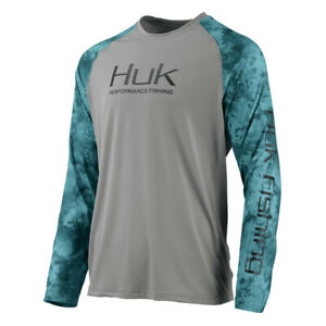 Huk H1200136 Elements Double Header Vented L//S White Reflex or Navy Ice