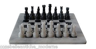 Intenzionale Scacchiera Con Intarsi Marmo Bianco Nero Marble Inlays Chessboard Chess 20x20cm Buono Per L'Energia E La Milza