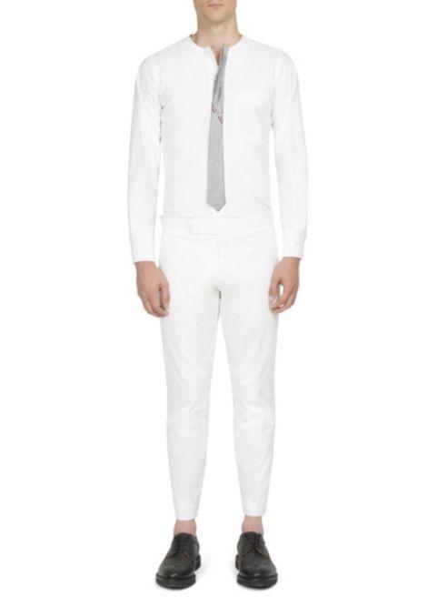Brand New Thom Browne Silk-Tie CollarlessShirt, White, Size 1 (Small)