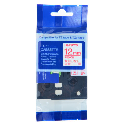 """4PK TZ 232 TZe-232 Red on White Label Tape For Brother P-Touch PT-1910 1//2/"""" 12mm"""