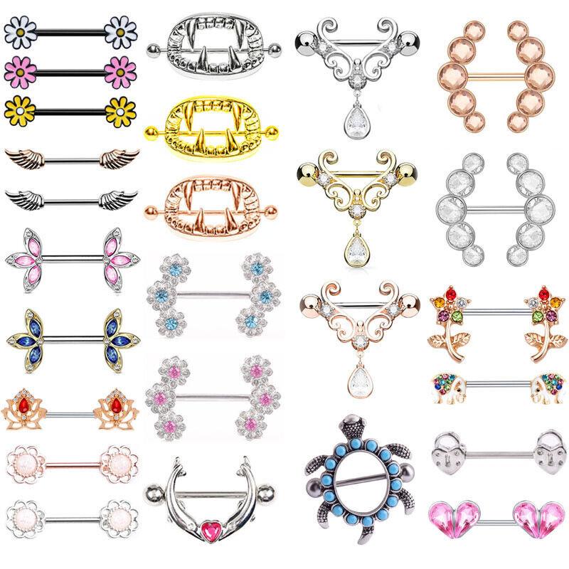 LOT50pcs 14G Gems  Body Jewelry Tongue Nipple Shield Rings Bar Barbells New