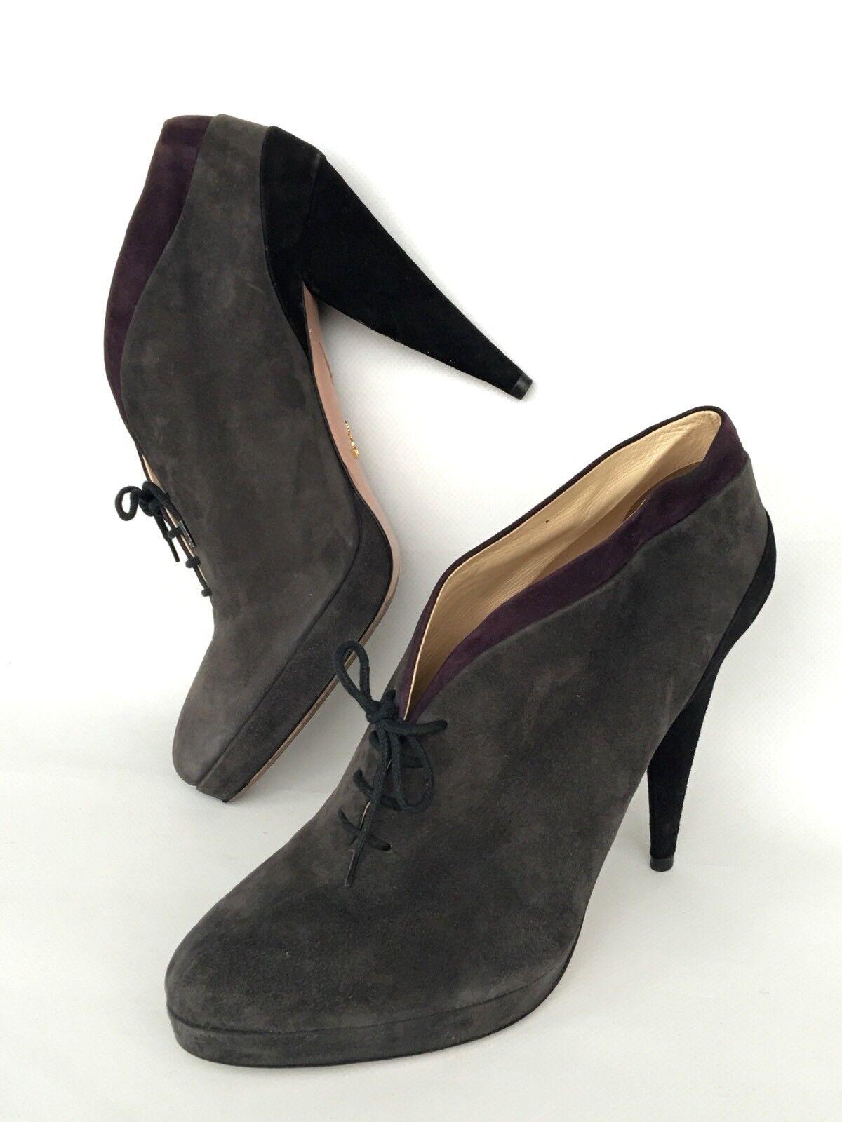 Prada Schuhes High Heels Suede Lace-up US 9, EU 40