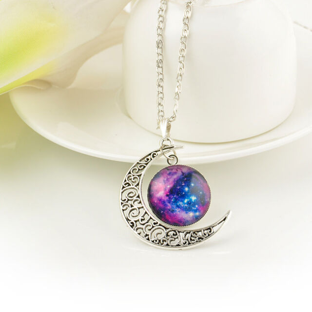 WOMEN TRENDY GALACTIC GLASS CABOCHON PENDANT SILVER-TONE CRESCENT MOON NECKLACE
