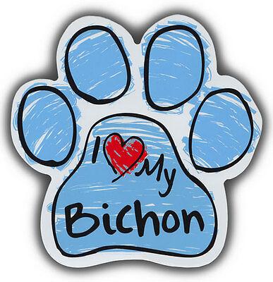 2019 New Style Zeichnen Pfote Hund Magnete: I Love My Bichon Frise Auto, Lkws, Kühlschränke