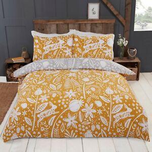 Rapport-Woodland-Woodcut-Reversible-Floral-Rabbit-Duvet-Cover-Bedding-Set-Ochre