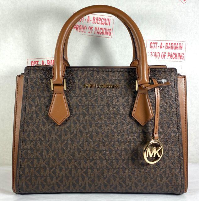 Michael Kors Hope Medium Brown MK Signaure Satchel Messenger Crossbody Bag