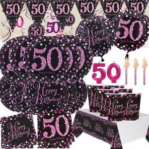 AGE-50-Happy-50th-Birthday-BLACK-amp-PINK-Sparkle-Party-Range-Banners-Decorations