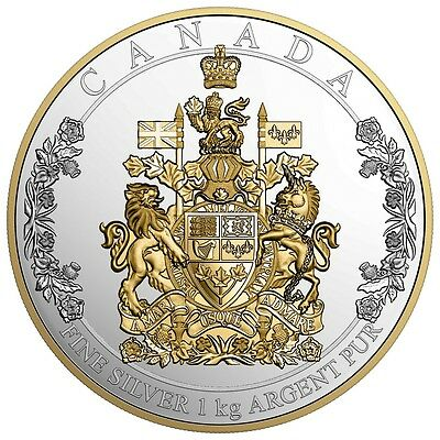 THE ARMS OF CANADA - 2016 $250 1 Kilo Pure Silver Coin - Royal Canadian Mint