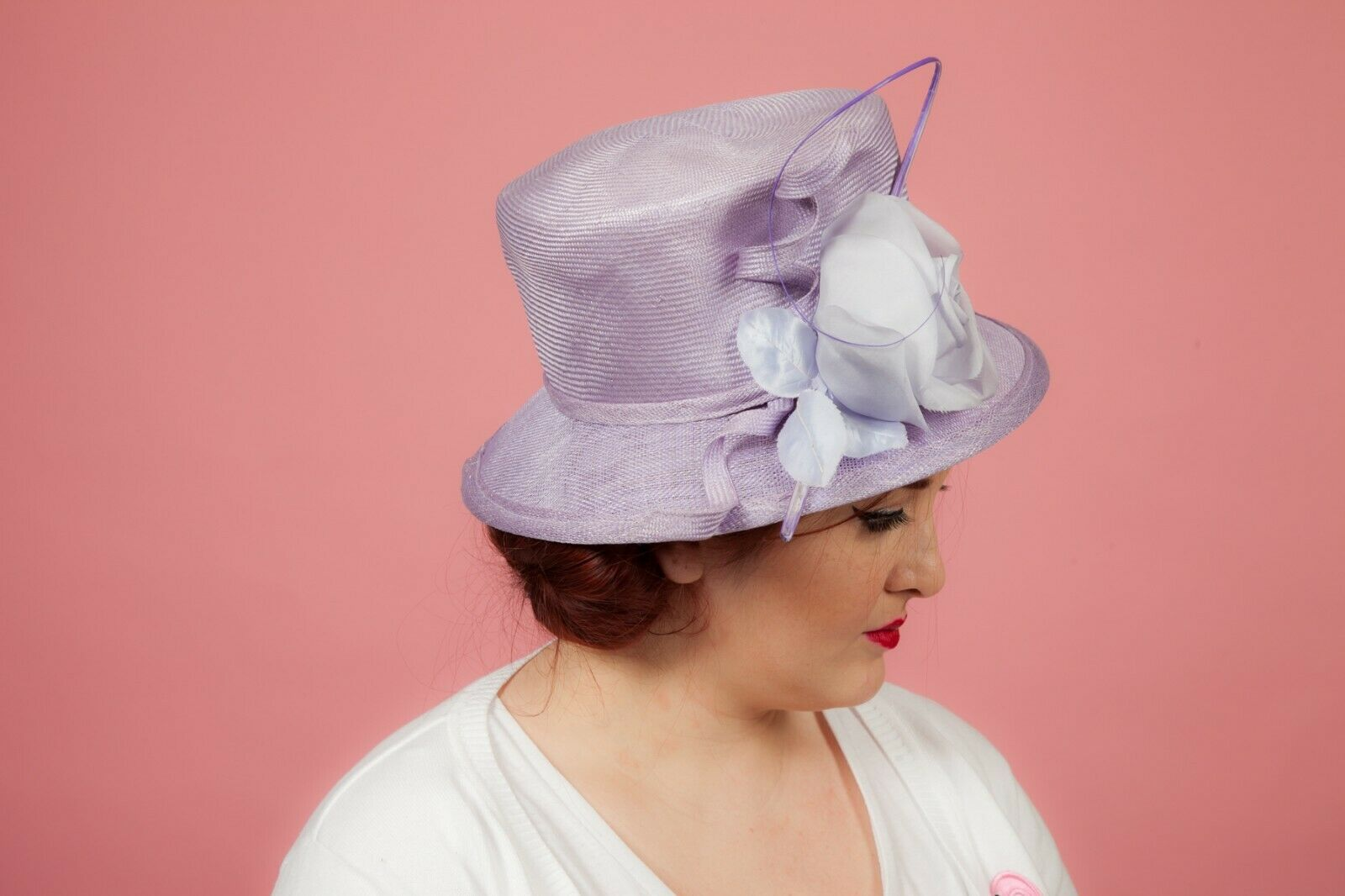 Ladies purple formal hat by Whitely Wedding Races Ascot Christing