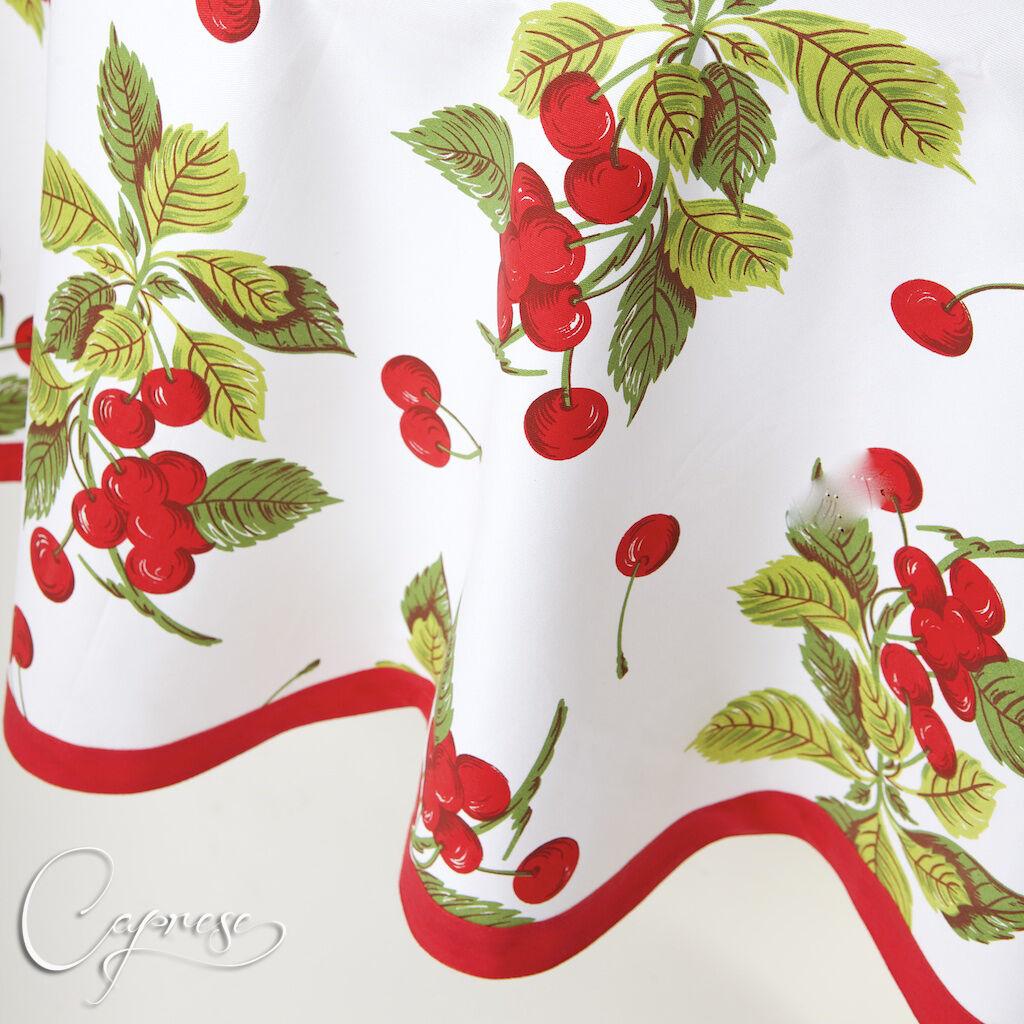 Nappe 180 x 180 cm environ cerises motif d'Italie 100% coton NEUF