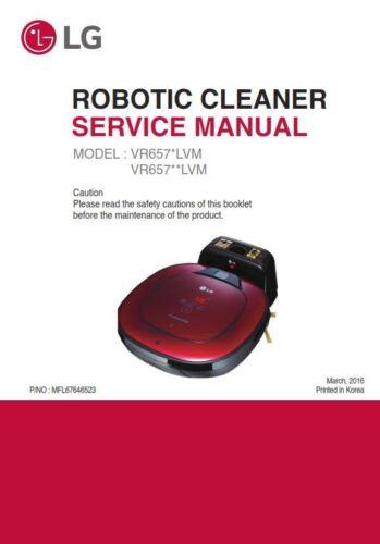 LG VR65704LVM VR65704LVMP Robotic Vacuum Service Manual Parts List Catalog