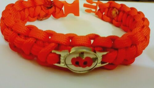 Remembrance Day.Red Poppies Various Sizes Paracord Bracelet