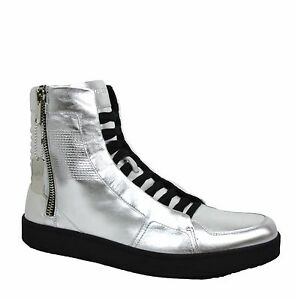 New-Gucci-Men-039-s-Silver-Leather-High-top-Sneaker-Limited-Edition-376191-8163